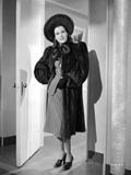 Frances Dee posed in Black Coat in Black and White
