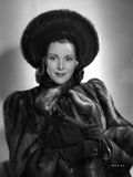 Frances Dee posed in Fur Dress in Black and White