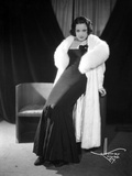 Ethel Merman Seated in Classic with Feather Coat