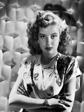 Gloria DeHaven Curly Hair  Red lipstick Posed in White Gown