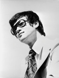 Bruce Lee Posed in Suit and Printed Necktie