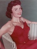 Donna Reed Posed in Red Gown