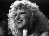 Bette Midler Portrait smiling Looking Up in White Short Sleeve Dress