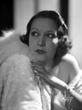 Ethel Merman Looking Up in Feather Coat