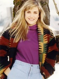 Cynthia Geary in a Knitted Coat smiling Portrait