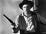 James Arness Posed in Cowboy Suit With Pistol