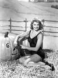 Esther Williams Seated in Hay