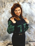 Heather Langenkamp Posed in a Green and Black Blouse