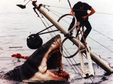 Jaws Movie Scene Giant Shark Attacking the Man standing on a Steel Post
