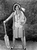 Gloria Swanson posed with Umbrella Classic Portrait