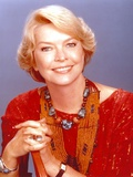 Ellen Burstyn smiling in Red Dress Close Up Portrait