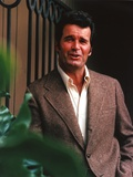 James Garner Portrait in Grey Corduroy Blazer with Right Hand on the Pocket