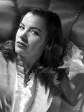 Ella Raines Lying in Black and White with Robe