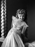 Gloria DeHaven smiling in White Dress in Black and White