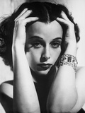Hedy Lamarr Hands on Face with Bracelet