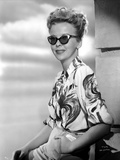 Ida Lupino on a Printed Top with Sun Glasses