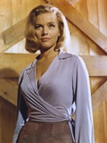 Honor Blackman Posed in Sexy Dress