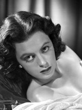 Faith Domergue Reclined in Black and White Portrait