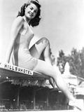 Esther Williams Siting in Black and White