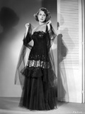 Frances Dee posed in Black Gown in Black and White