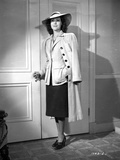 Frances Dee posed in Formal Outfit and Coat in Black and White