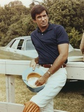 George Hamilton Leaning on a White Fence