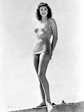 Esther Williams standing with Bikini in Black and White