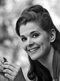 Jessica Walter Portrait in Grey Pleated Dress with Hands Together