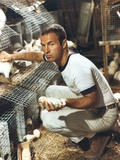 James Caan Posed with Chicken Eggs