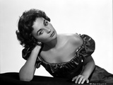 Jean Simmons Posed in Black Off Shoulder Bubble Dress with Head Leaning on the Right Hand