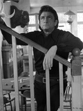 Johnny Cash Leaning on Stair