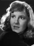 Jean Arthur Portrait in Black Cotton Dress with Eyes Looking Away