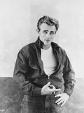 James Dean Portrait in Black Tuck On Jacket and Black Jeans with Left Hand on the Waist