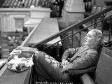 Jean Arthur on a Stripe Top sitting on a Chair