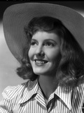 Jean Arthur on a Stripe Top with Hat Portrait