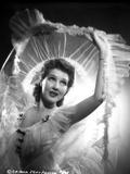 Jean Parker Posed in Off Shoulder Lace Sheer Dress