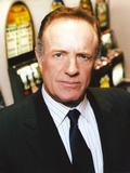 James Caan Portrait in Black Silk Tuxedo and Striped Collar Shirt with Necktie
