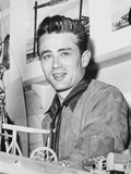 James Dean Portrait in Grey Velvet Suit with Black Collar and Brushed Up Hair