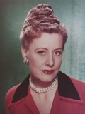 Irene Dunne with Pearl Necklace Close Up Portrait