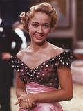 Jane Powell Close Up Portrait in Black Polka Dot Shoulder Dress with Hand Held Together