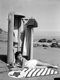 Jean Parker on a Seashore Lying on a Stripe Cloth