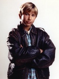 Jonathan Thomas Posed in Black Leather Jacket