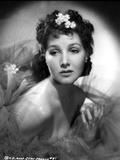 Jean Parker Portrait in Silk Shoulder Dress with Ruffle Sheer Silk Top