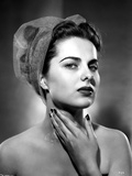 Martha Hyer on See Through Hat and Hand on Neck