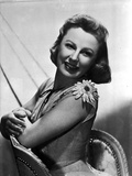 June Allyson Posed on Chair Black and White