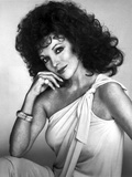Joan Collins wearing a One Shoulder Strap Dress in a Classic Portrait