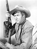 James Stewart Posed in Leather Jacket and Neckerchieft with Cowboy Hat while Holding a Sawed-Off Sh