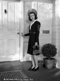 Jane Withers Posed in Black Velvet Long Sleeve Dress with White Collar