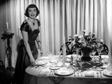Jane Wyman Posed in Black Short Sleeve Square-Neck Silk Dress