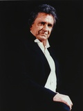 Johnny Cash wearing a Black Suit with White Undershirt